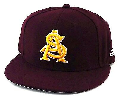 Arizona State Sun Devils ASU New Adidas Maroon Climalite Era Fitted Hat Cap  7 fd747a75239c