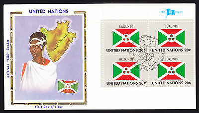 United Nations UN 1984 Burundi National Flag + Costume Map cachet cover Africa