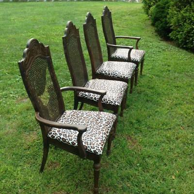 4 Vintage solid Wood cane back dining room leopard padded chairs  Pickup Only!!