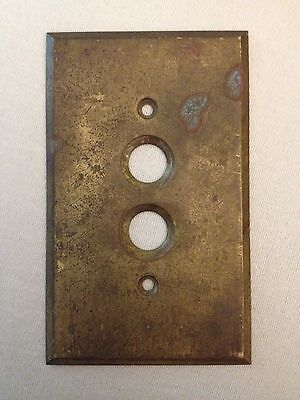 ANTIQUE * Vintage * BRASS SWITCH PLATE * Double PUSH BUTTON * Beveled Edges