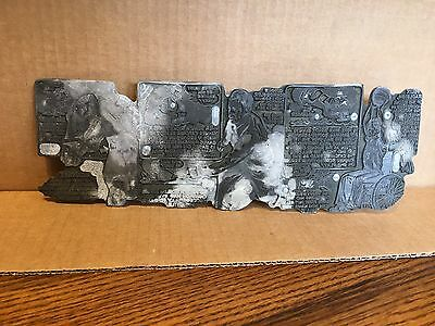 Rare Antique Printing Press Plate Sports Trivia Strip Unique One Of A Kind