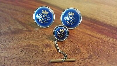 set of cufflinks + tie tack pin (blue and gold with King's crown)