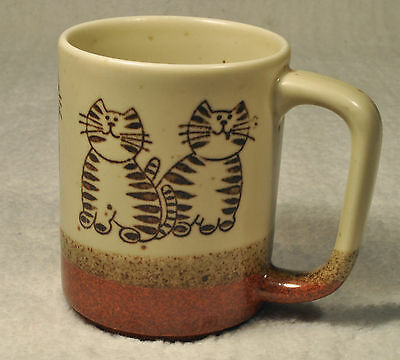 """CATS"" Earthenware Coffee Cup Mug 3 Tone & Textured!   CAT LOVERS!!!"