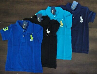 NWT Ralph Lauren Toddler Boys S/S Big Pony Solid Mesh Polo Shirt Sz 2t 3t 4t NEW