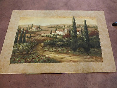 Stunning Tapestry Wall Hanging Spanish Villa Scene 42 x 28 No Rods to Hang WOW