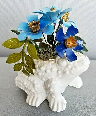White Frog figurine planter w metal blue flowers