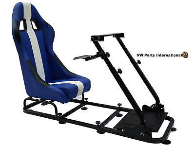 Car Gaming Racing Simulator Frame Chair Bucket Seat PC PS3 PS4 XBox Blue/White