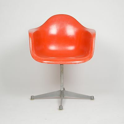 1960's Eames Herman Miller Red / Orange Fiberglass Shell Chair Arm Shell