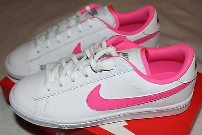 check out on sale arriving NEW NIKE BIG Girl's White Classic Leather Pink Blast Tennis Shoes ...