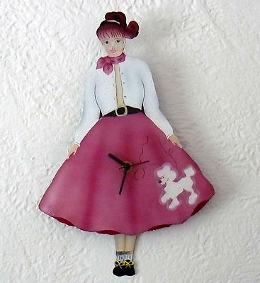 "Wall Clock 12"" Animated Girl Pink Poodle Skirt Used 12"" Old Time Piece"