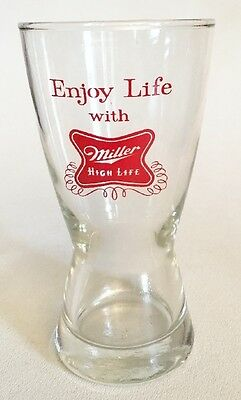 Vtg Miller High Life Beer Pilsner Glass Enjoy Life Advertising Souvenir Libbey