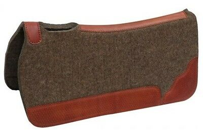 Showman 32 x 32 100% Mohair Wool Saddle Pad W/ Basket Tooled Wear Leathers!