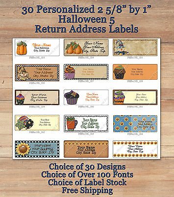Colourful Cute 30 Personalized HALLOWEEN  FALL Address Labels 5 Pumpkins Cupcake
