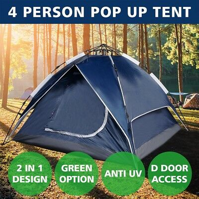 4 Person Tent Double Layer Instant Auto Pop Up Camping Hiking Canopies Shelter