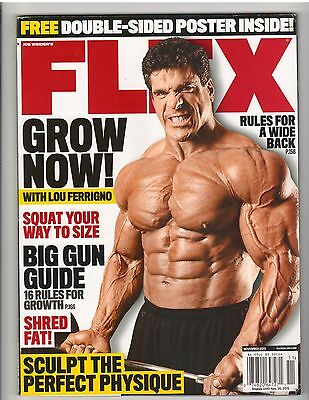FLEX bodybuilding muscle magazine/Lou Ferrigno w/ 2 sided poster 11-15 no label