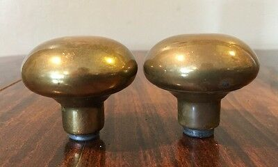 Vintage Brass Round Doorknob Handles PAIR Antique Hardware