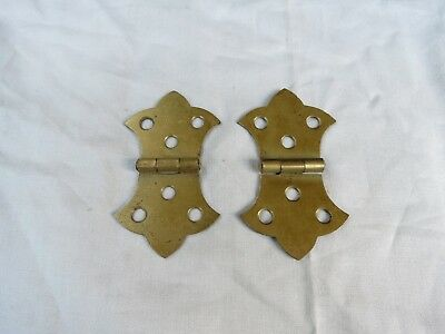 Antique pair set 2 brass plate ornate Cabinet door Hinge Hinges 3 1/8 X 1 3/4""