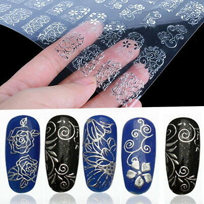 108Pcs 3D Silver Flower Nail Art Stickers Decals Stamping DIY Decoration Tool B6