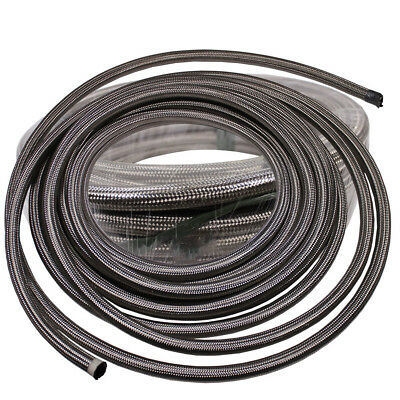 20 Feet -8 AN Nylon Stainless Steel Braided Fuel Gas Oil Line Hose AN8 Silver