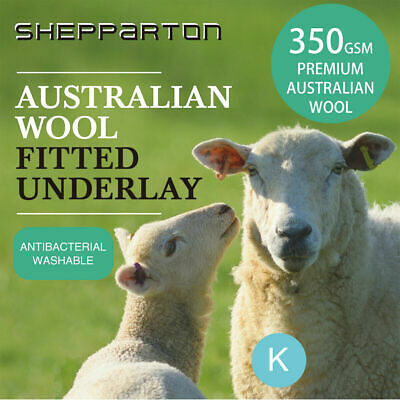 Australian Wool Underlay Underblanket Fully Fitted King Mattress Topper