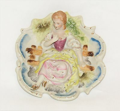 """Vintage CHASE Hand Painted Bisque 3D Wall Plaque Made in Japan - 5 5/8"""" x 5 3/8"""""""