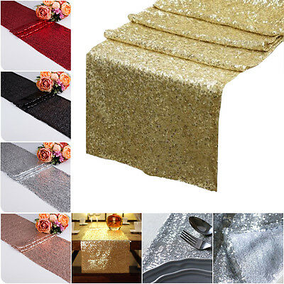 """12""""x72"""" Sequin Table Runners Sparkle Birthday Wedding Party Glitter Decorations"""