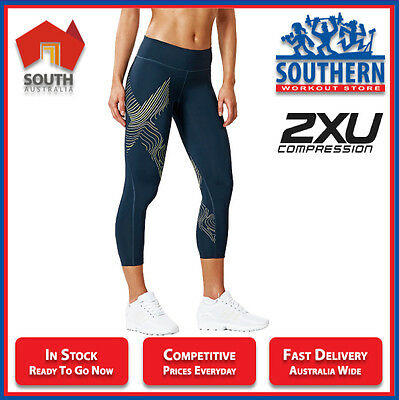 2XU COMPRESSION WOMEN'S 7/8 TIGHTS MID RISE HYOPTIK REFLECT VISIBILITY wa4170b