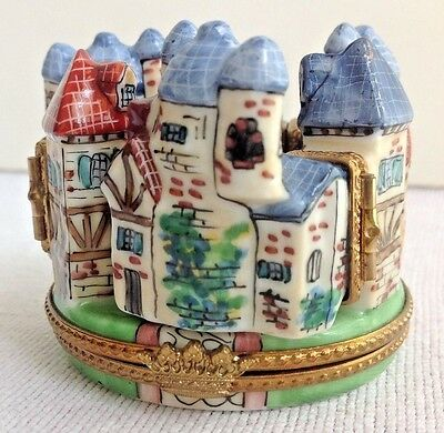 Rare Limoges Trinket Box Medieval Village 4 Hinges Hand Painted Limited Edition