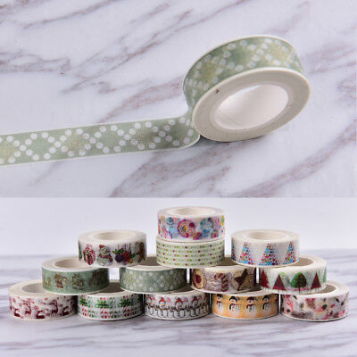 Christmas Washi Tape Paper Masking Sticky Adhesive Roll Craft Decorative New@