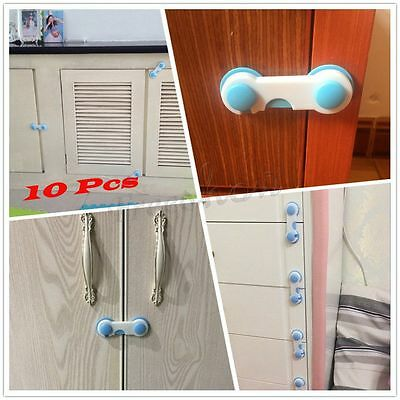 10 PCS Baby Child Safety Cabinet Door Drawer Safety Tape Childproof Latch Locks