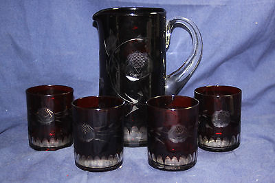 Vintage Czech Bohemian Glass Ruby Cut to Clear Beverage Pitcher & 4 Glasses
