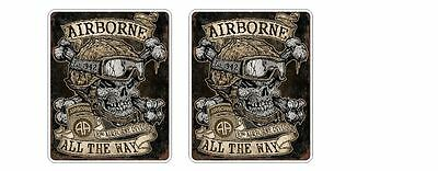 2x Airborne All The Way Retro Sticker Decal Army Navy Air Force