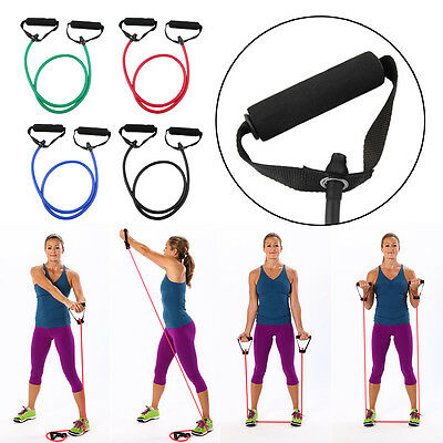 Fitness Resistance Band Rope Tube Elastic Exercise for Yoga Pilates Workout #@