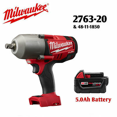 "Milwaukee 2763-20 18V 1/2"" Impact Wrench and 48-11-1850 5.0Ah Battery NEW"