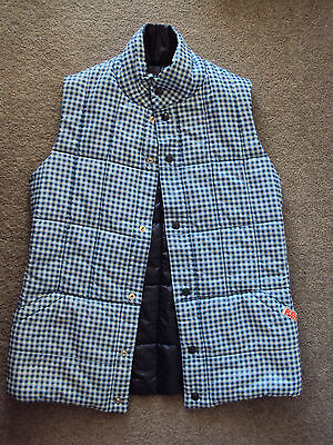 PUFFA 70s vintage blue gingham quilt fibre vest MADE IN ENGLAND tag size M 10-12