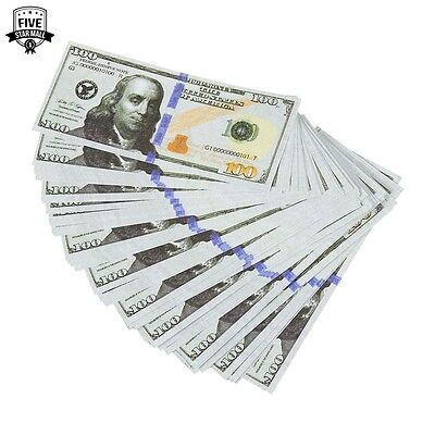 Realistic Double Sided Prop Money Set of 100 $100 Dollar Bills $10,000 with Or