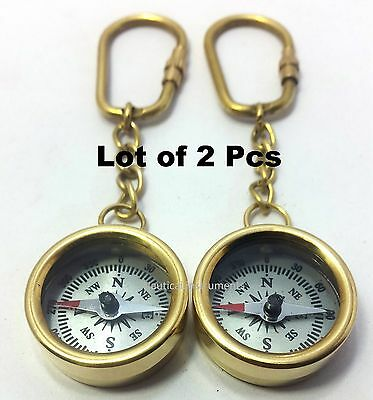 Lot  OF 2  VINTAGE STYLE SOLID BRASS POLISH FINISHED POCKET COMPASS KEY CHAIN