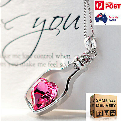 Women Necklace Ladies Jewellery Crystal Pendant Chain Char Silver Gold Pink Blue