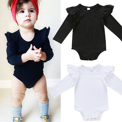 Solid Newborn Baby Girls Long Sleeve Bodysuit Romper Jumpsuit Outfit Clothes