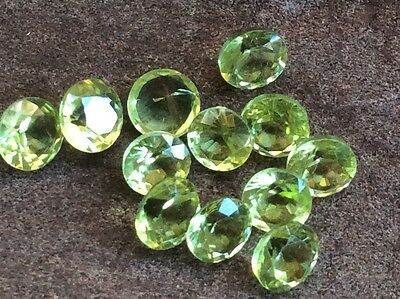5Pc Round Cut Shape Natural Peridot 4Mm Faceted Loose Gemstones