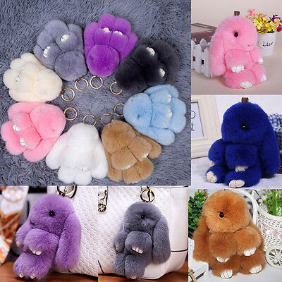 Genuine Fur Bunny Fluffy Rabbit Keyring Bag Charm Pendant Handbag Phone Keychain