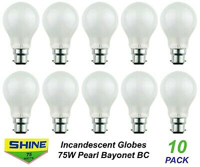 10 x 100W Light Globes / Bulbs B22 Bayonet Incandescent Warm White Dimmable A60