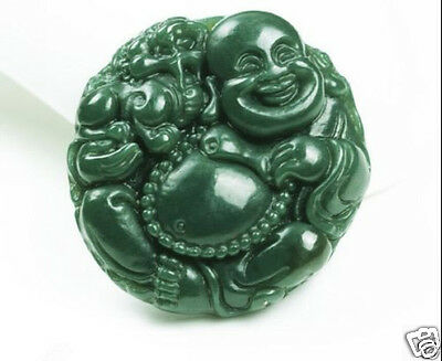 Chinese Natural Green Hand-carved Hetian Jade buddha Pendant Free shipping
