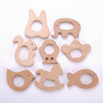 Baby Teether Teething Natural Wooden Eco-Friendly Safe Toy Gift 6 Styles HOT