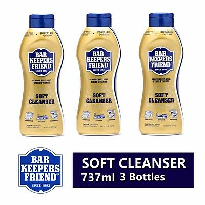 3x Bar Keepers Friend Liquid Soft Cleanser 737g removes Rust Stains Lime Tarnish