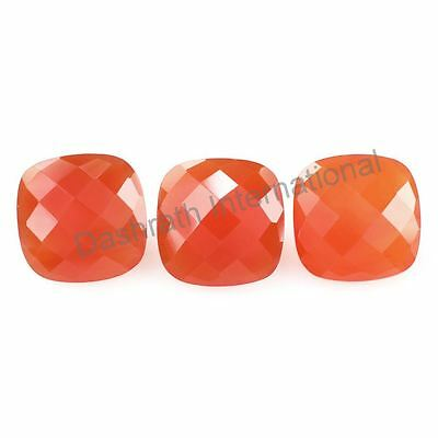 Natural Carnelian Checkerboard Cut Cushion 6mm To 12mm Calibreted Loose Gemstone