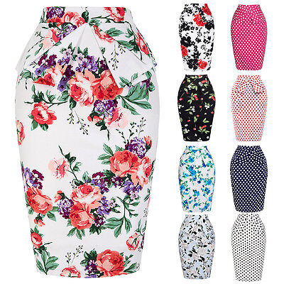 Women's Bandage Floral High Waist Skirts Party A-Line Pencil Midi Business Skirt