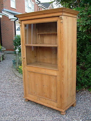 Victorian solid pine antique haberdashery medicine cupboard shop display cabinet
