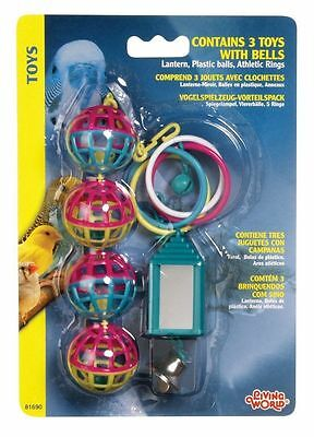 Living World 3 Colourful Plastic Bird Budgie Toys 81690 Lantern Mirror Rings Bel