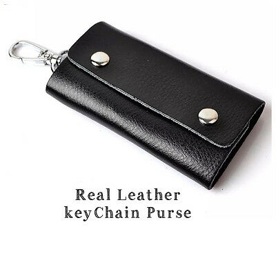 Unisex Real Leather Keys Holder Wallet Bag Purse Case Key Chain Key Ring Pouch